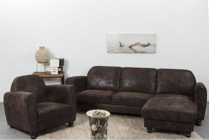 FINLANDEK Canapé d'angle réversible IKÄINEN 4 places Vintage Tissu marron effet vieilli - Cdiscount
