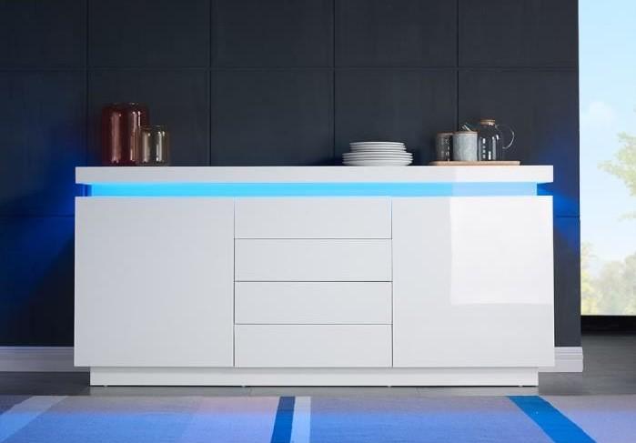 FLASH Buffet blanc laqué avec led bleue