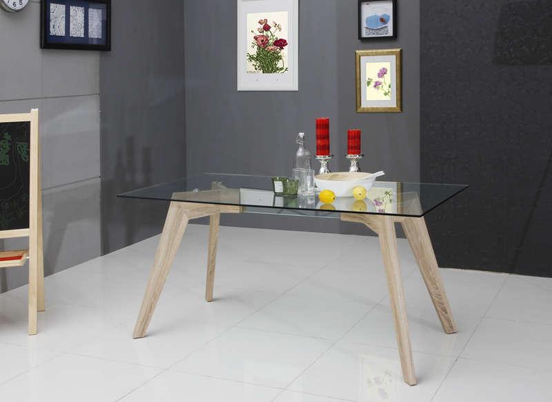 Table en verre et bois floki table pas cher achatdesign - Table a manger en verre design pas cher ...