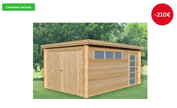 Garage bois Norwich 2 14,33 m² pas cher - Garage Auchan