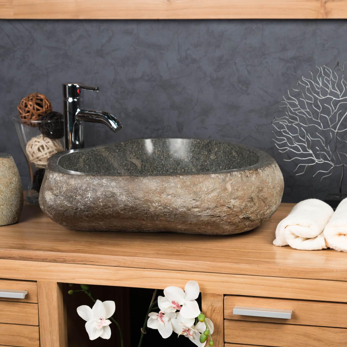 Grande Vasque en pierre naturelle GALET DE RIVIERE 50 - ManoMano