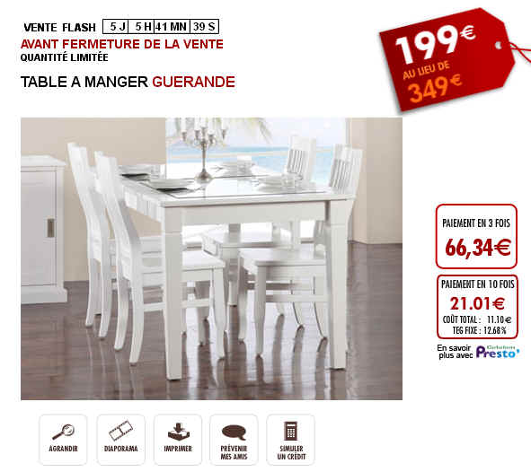 Vente flash table a manger guerande prix 199 euros vente unique ventes pas for Prix table a manger
