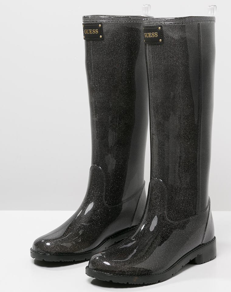 guess ribby bottes en caoutchouc black bottes de pluie. Black Bedroom Furniture Sets. Home Design Ideas