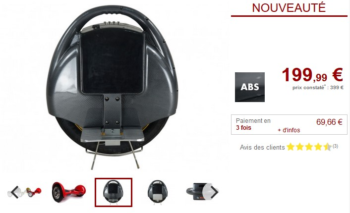 Gyropode QUICK-RIDE 500W 12km/h Fonction bluetooth
