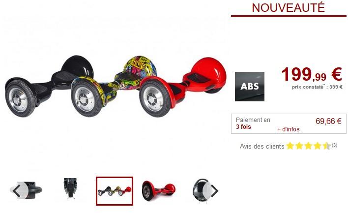 Gyropode QUICK-RIDE 500W 12km/h Fonction bluetooth- Vente Unique
