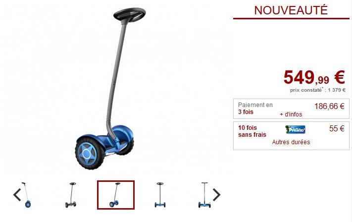Gyropode segway VELOCITY 800W 18km/h GPS Noir ou bleu - Vente Unique