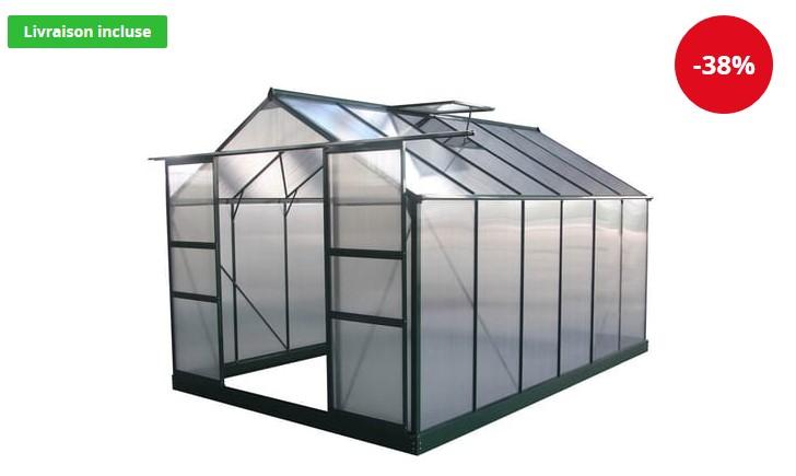 Serre jardin polycarbonate Dahlia Vert Sapin 9,24 m² HABITAT ET JARDIN - Auchan