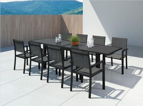 HARA XL Table de jardin extensible aluminium + 10 fauteuils pas cher -  Salon de jardin ManoMano