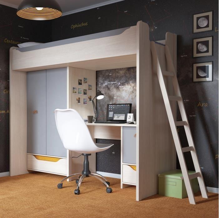 HIHOT Chambre enfant complète style junior décor chêne clair belluno et gris