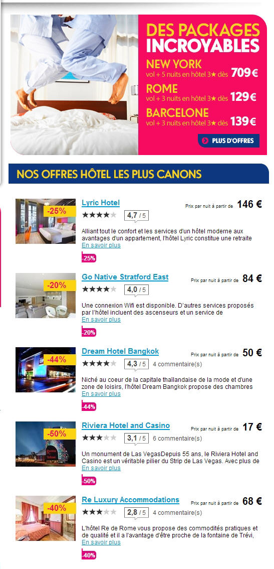 Hotel pas cher Ebookers