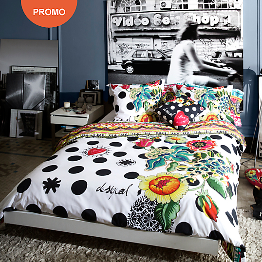 housse de couette percale polka dots desigual housse de couette camif ventes pas. Black Bedroom Furniture Sets. Home Design Ideas