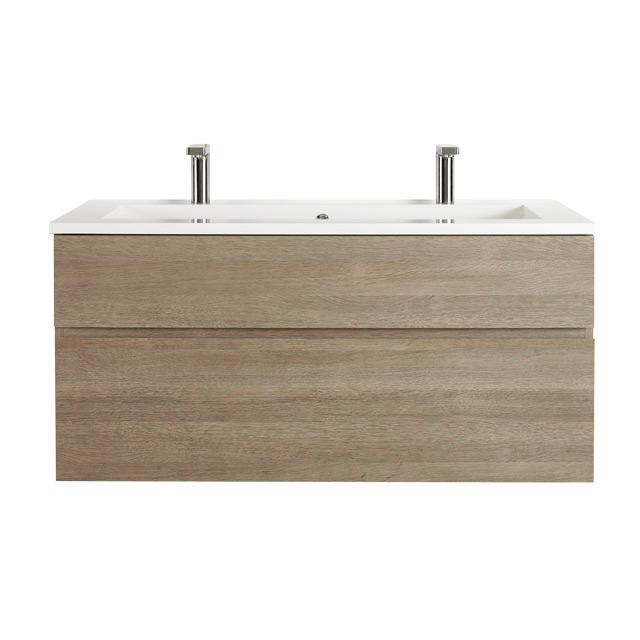 Meuble de salle de bains d cor ch ne clair calao mont - Salle de bain pas cher castorama ...