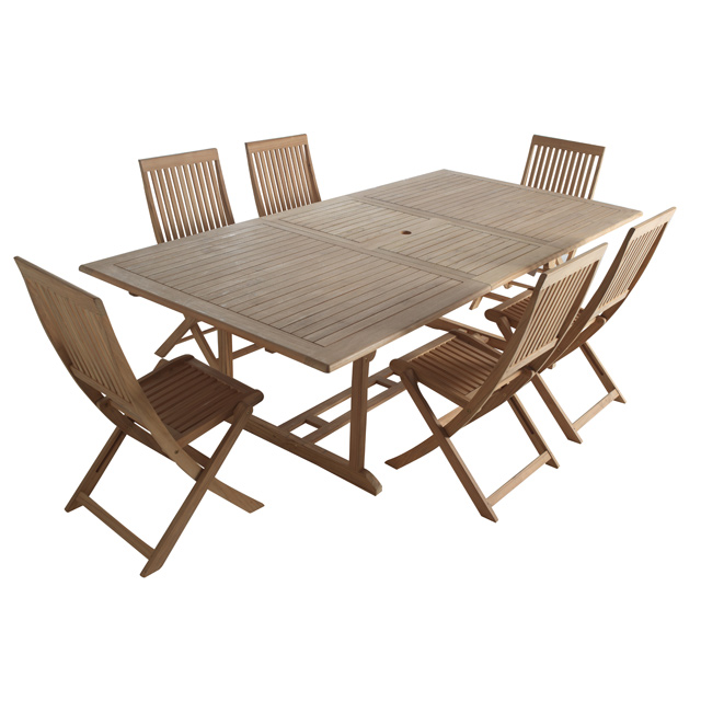Salon de jardin castorama ensemble table 6 chaises en for Table de jardin en teck pas cher