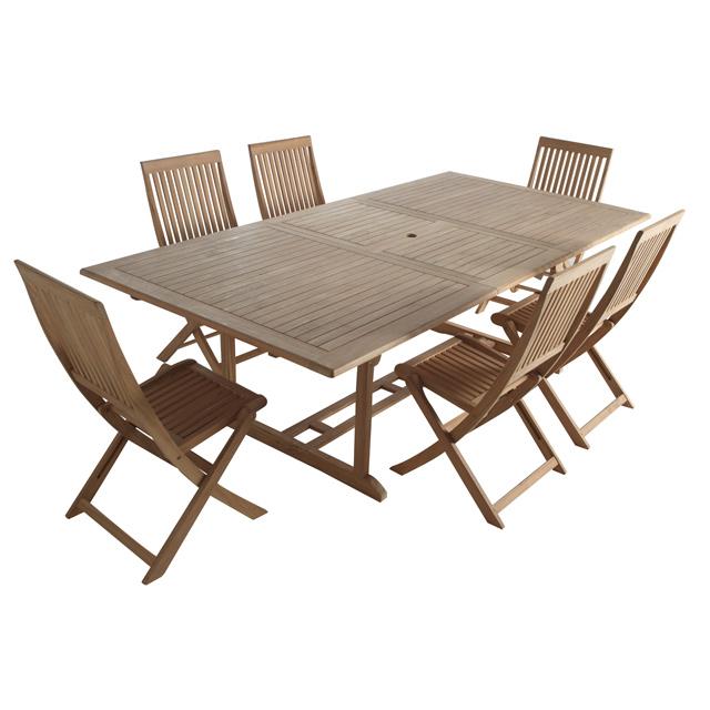 Salon de Jardin Castorama - Ensemble table + 6 chaises en ...