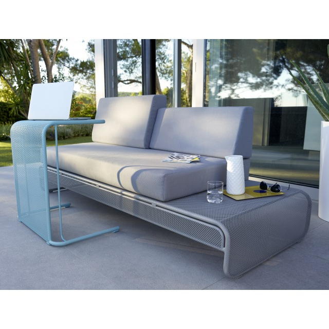 sofa en m tal chiva gris avec coussins salon de jardin castorama ventes pas. Black Bedroom Furniture Sets. Home Design Ideas