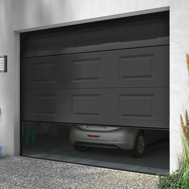 Porte de garage sectionnelle motoris e turia anthracite - Prix porte garage sectionnelle motorisee ...