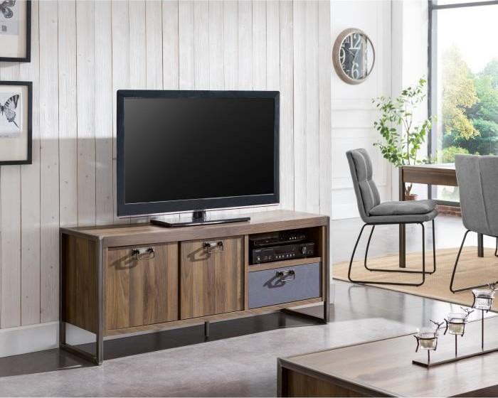 INDUS-CHIC Meuble TV industriel décor noyer