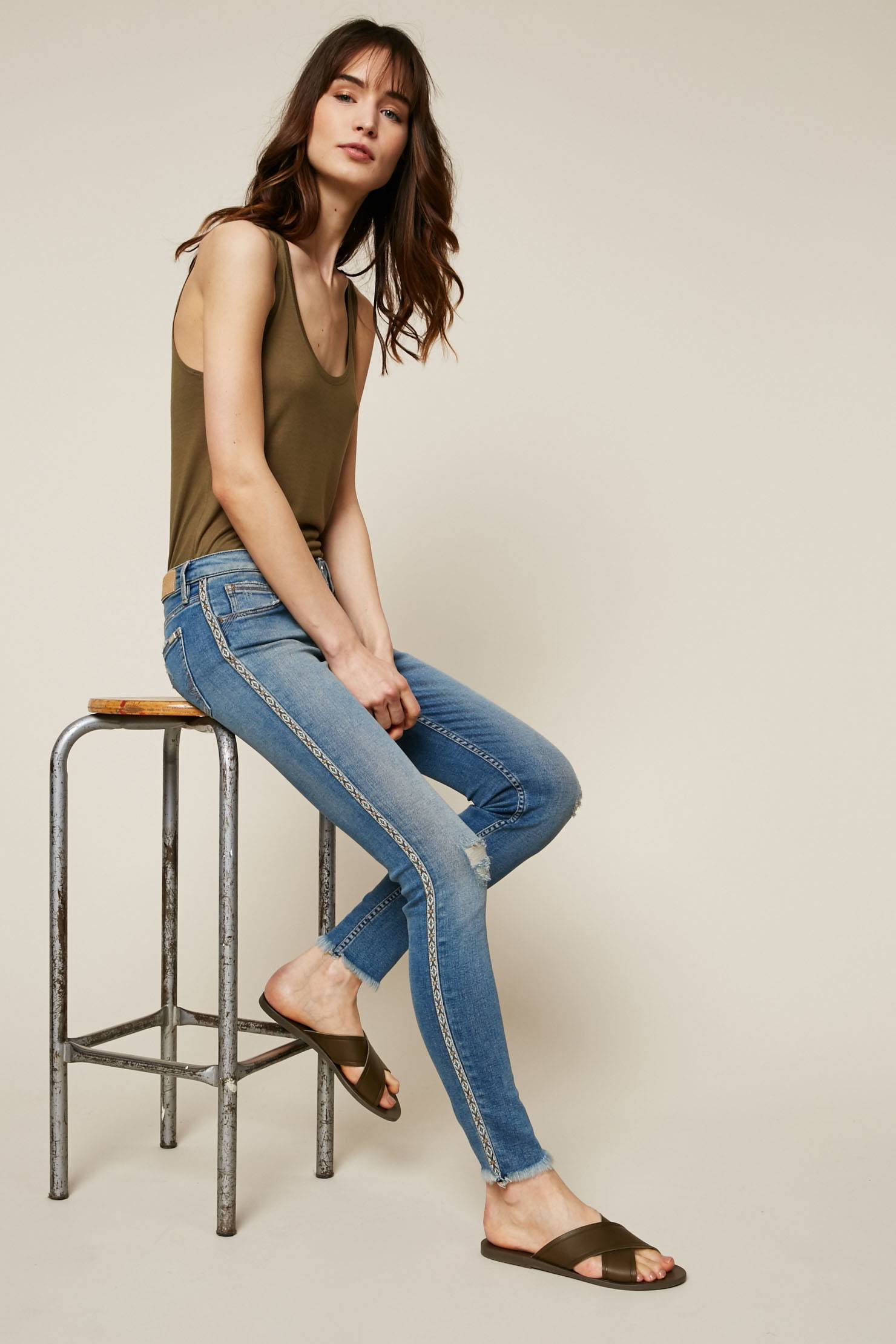 Reiko Lily Jean skinny délavé empiècement fantaisie bleu - Monshowroom