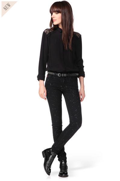 jean slim noir tachet karine i code by ikks jeans femme monshowroom ventes pas. Black Bedroom Furniture Sets. Home Design Ideas