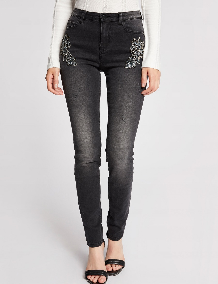 Jeans effet usé broderies sequins Morgan