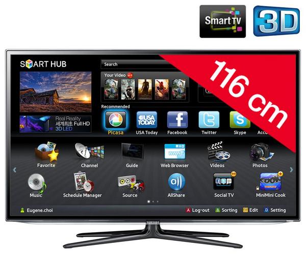 t l viseur 3d pixmania samsung t l viseur led smart tv 3d ue46es6300 prix 899 00 euros. Black Bedroom Furniture Sets. Home Design Ideas