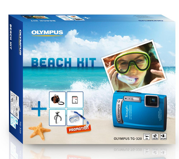 Appareil photo étanche Carrefour - OLYMPUS Coffret Beach Kit Tough TG-320 bleu
