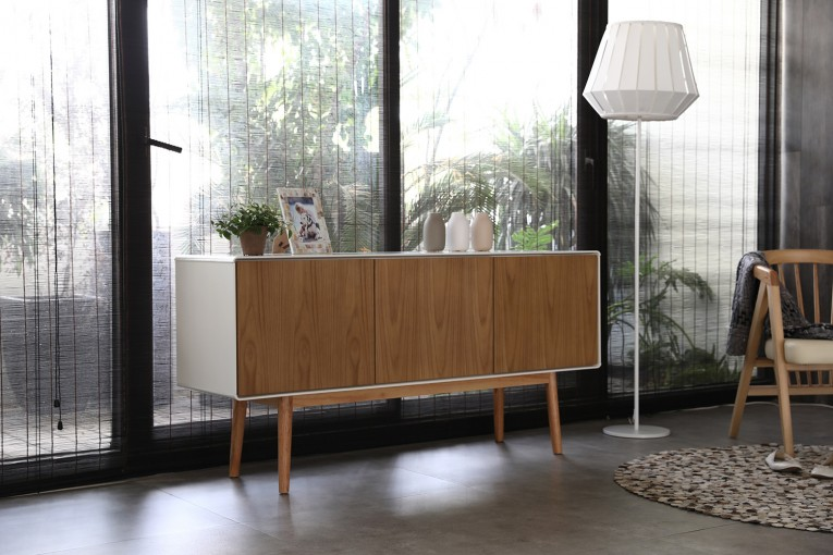 Buffet scandinave Lahti 3 portes bois naturel