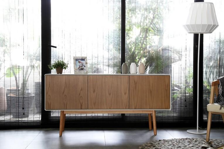Buffet scandinave Lahti 3 portes bois naturel - Concept Usine