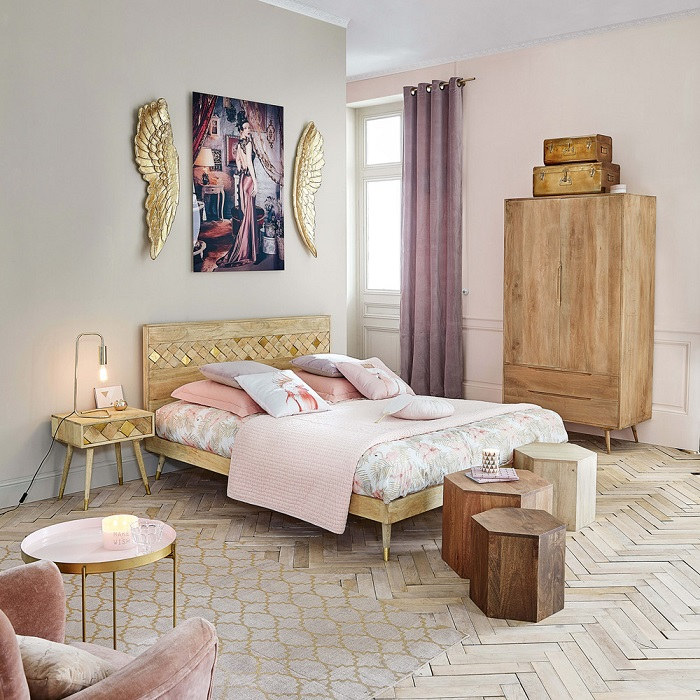 lit 160x200 en manguier salome pas cher lit maisons du monde ventes pas. Black Bedroom Furniture Sets. Home Design Ideas