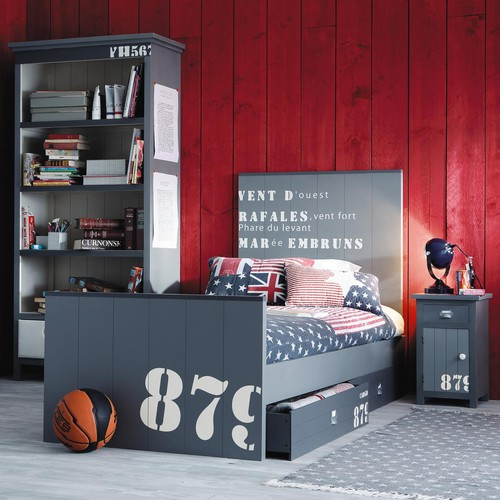 lit 90 x 190 cm en bois gris cargo lit enfant maisons du monde ventes pas. Black Bedroom Furniture Sets. Home Design Ideas