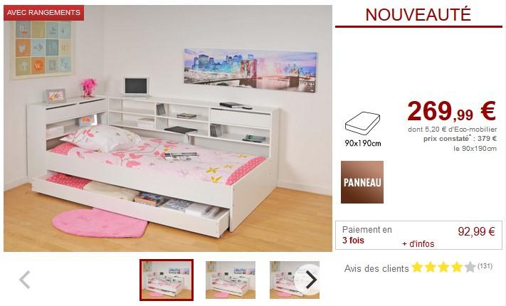 Lit avec tiroirs et étagères RENATO II 90x190cm blanc - Vente Unique