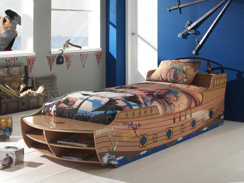 Lit bateau de pirate PIRATE avec sommier couchage 90 x 200 cm