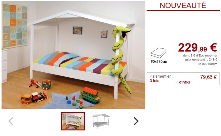 Lit cabane ROBIN 90x190cm Bois Blanc - Vente Unique