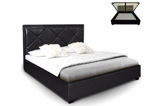 lit coffre en simili cuir noir nethos 160x200 cm lit. Black Bedroom Furniture Sets. Home Design Ideas