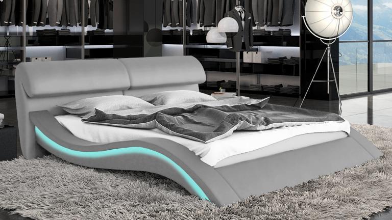 charmant lit design led pas cher #8: lit en similicuir avec tête