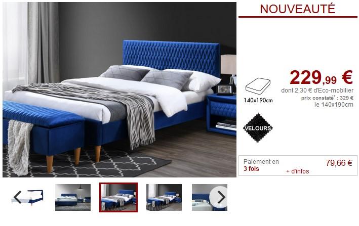 Lit DANIELE tête de lit décorée 140x190cm Velours Bleu - Vente Unique