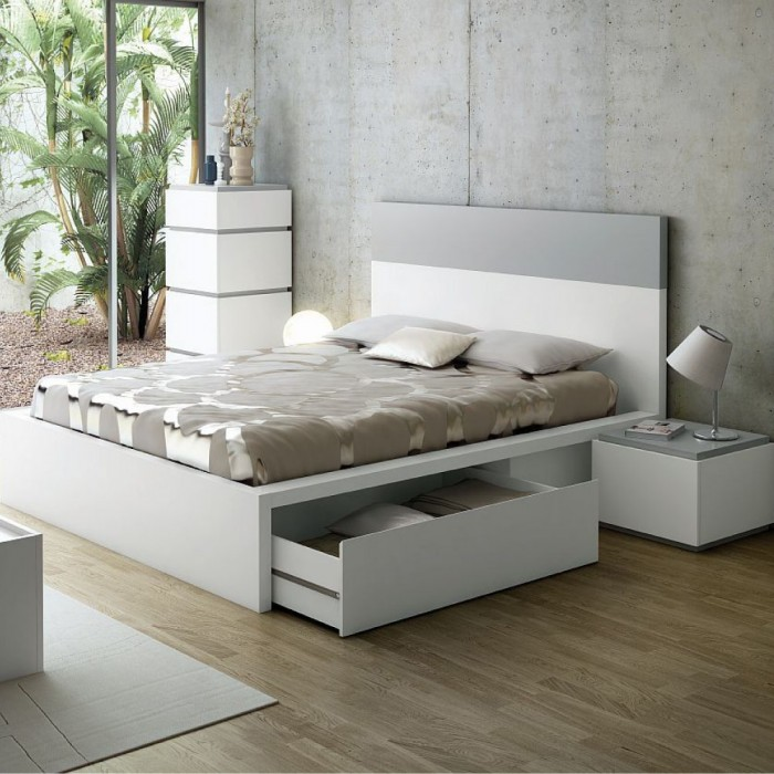 lit design avec tiroirs twist gris 160 cm lit adulte atylia ventes pas. Black Bedroom Furniture Sets. Home Design Ideas