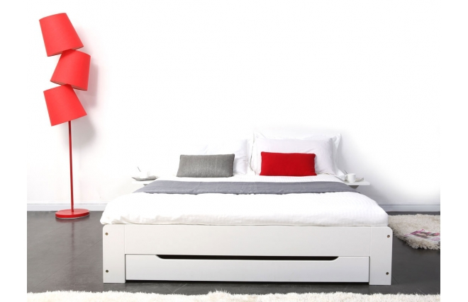 soldes lit miliboo lit design blanc 2 personnes 140x190 loris ventes pas. Black Bedroom Furniture Sets. Home Design Ideas