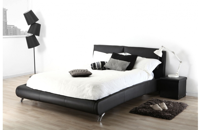 soldes lit deux places 160 200 noir joao soldes lit. Black Bedroom Furniture Sets. Home Design Ideas