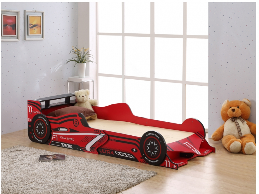 lit voiture rouge 90x190 cm avec leds formule 1 lit enfant vente unique ventes pas. Black Bedroom Furniture Sets. Home Design Ideas