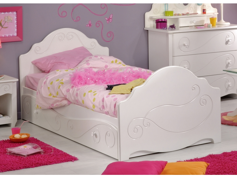 lit gigogne wendy 90x200cm blanc lit enfant vente. Black Bedroom Furniture Sets. Home Design Ideas