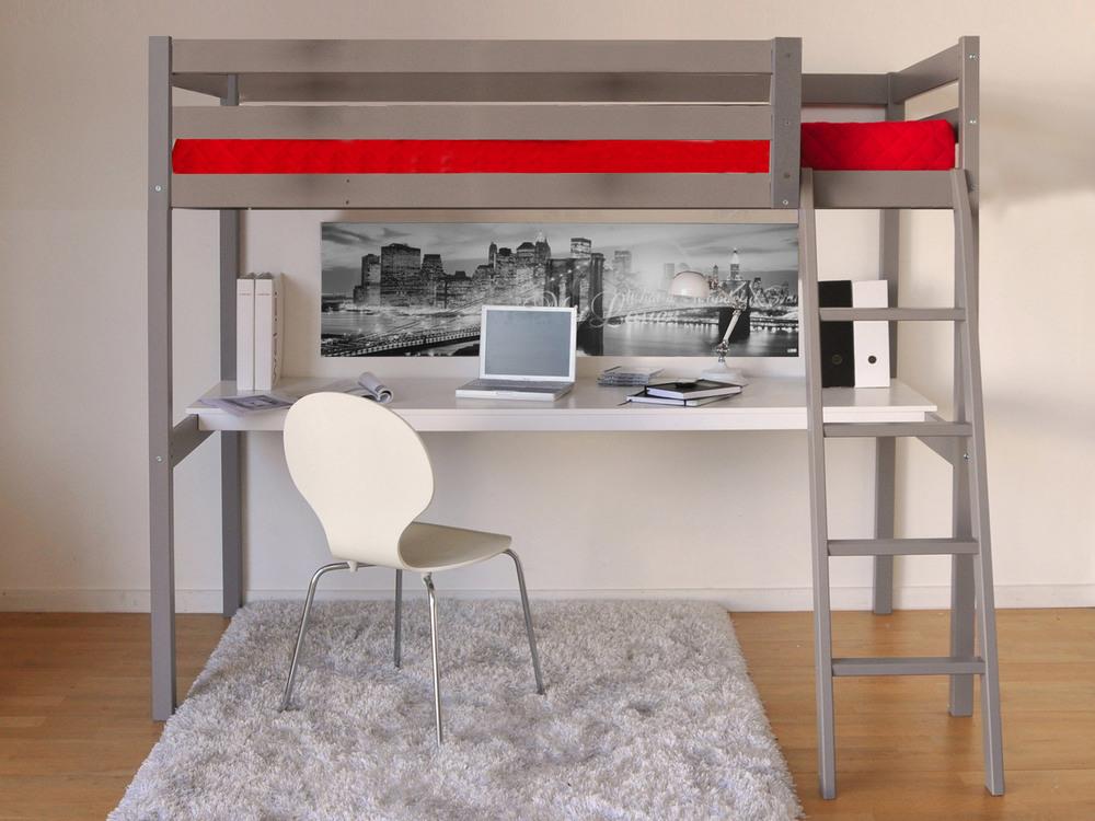 Lit mezzanine 90x190 cm COLORADO + bureau + sommier en bois