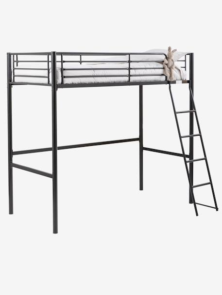 lit mezzanine enfant m tal brooklyn noir pas cher lit. Black Bedroom Furniture Sets. Home Design Ideas