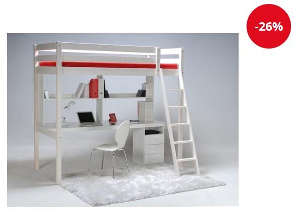 Lit Mezzanine + Sommier + Bureau + caissons CITY - Auchan