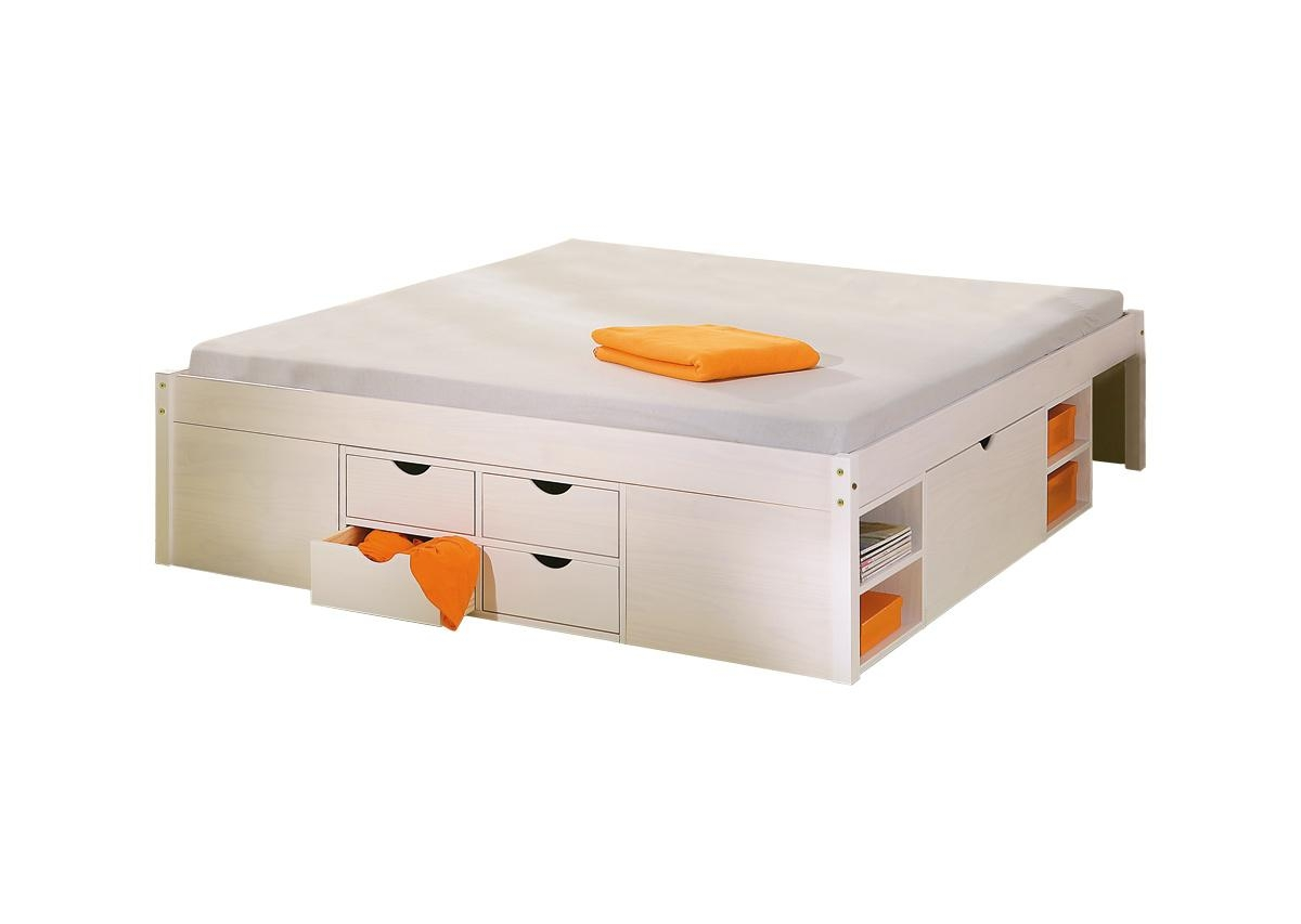 lit miliboo lit multi rangements 140x190 blanc tiego prix 619 00 euros ventes pas. Black Bedroom Furniture Sets. Home Design Ideas