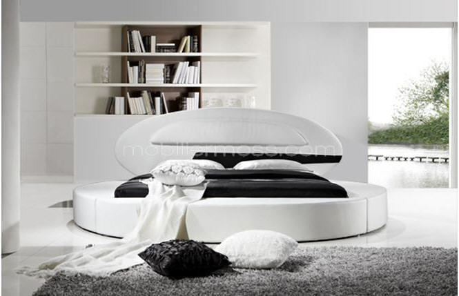lit rond design en cuir planet lit rond mobilier moss. Black Bedroom Furniture Sets. Home Design Ideas