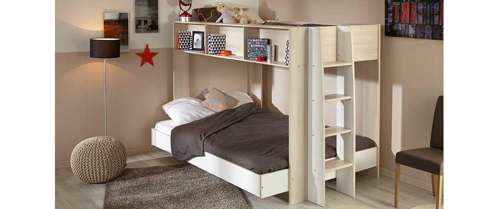 lit superpos design blanc et bois twin lit enfant. Black Bedroom Furniture Sets. Home Design Ideas