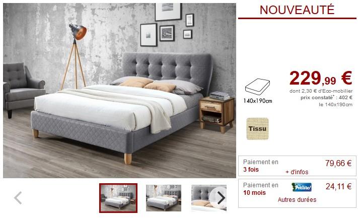 Lit ELIDE tête de lit capitonnée Tissu gris 140*190cm - Vente Unique