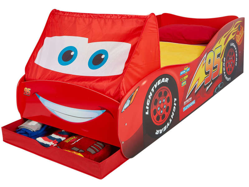 Lit-voiture junior avec rangement DISNEY CARS FLASH MC QUEEN - Conforama