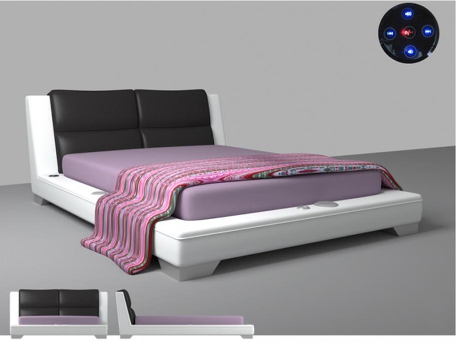 lit vente unique lit 160x200cm james avec syst me bluetooth int gr ventes pas. Black Bedroom Furniture Sets. Home Design Ideas